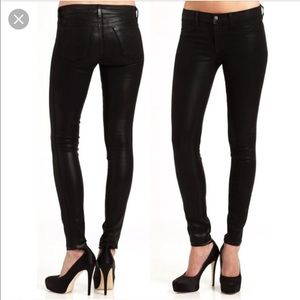 J Brand Super Skinny Black Coated Jeans